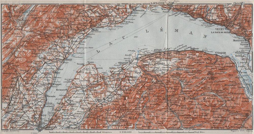 Associate Product LAKE GENEVA/LAC LÉMAN. Nyon Thonon Evian Vevey Lausanne Montreux 1907 old map