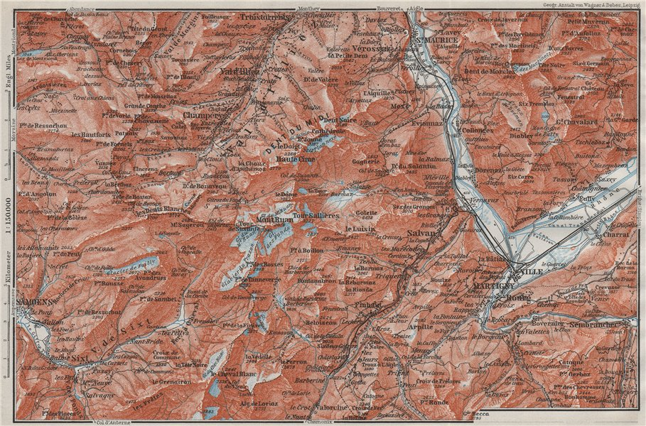 Associate Product VAL D'ILLIEZ/DENT DU MIDI.Champéry Samoëns Avoriaz Morzinette Martigny 1907 map