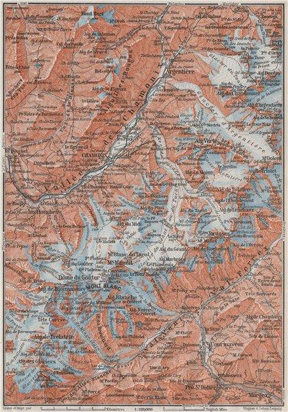 Associate Product CHAMONIX & MONT BLANC MASSIF. Argentière Les Houches Courmayeur carte 1907 map
