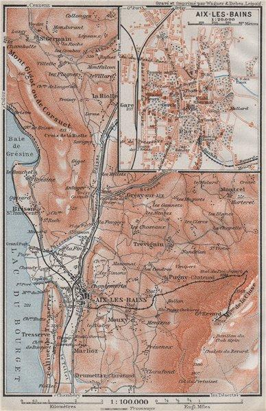 Associate Product AIX-LES-BAINS town city plan de la ville & environs. Savoie carte 1907 old map