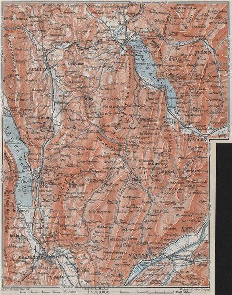 Associate Product MASSIF DES BAUGES. Annecy Chambéry Aix-les-Bains Revard Aillons Thônes 1907 map
