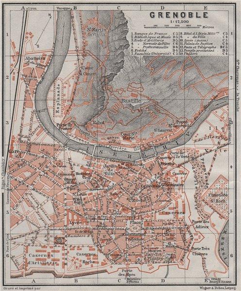 Associate Product GRENOBLE antique town city plan de la ville. Isère carte. BAEDEKER 1907 map