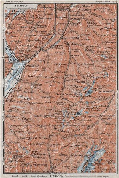 Associate Product Chaine de BELLEDONNE Les Sept Laux Le Collet d'Allevard Goncelin Isère 1907 map