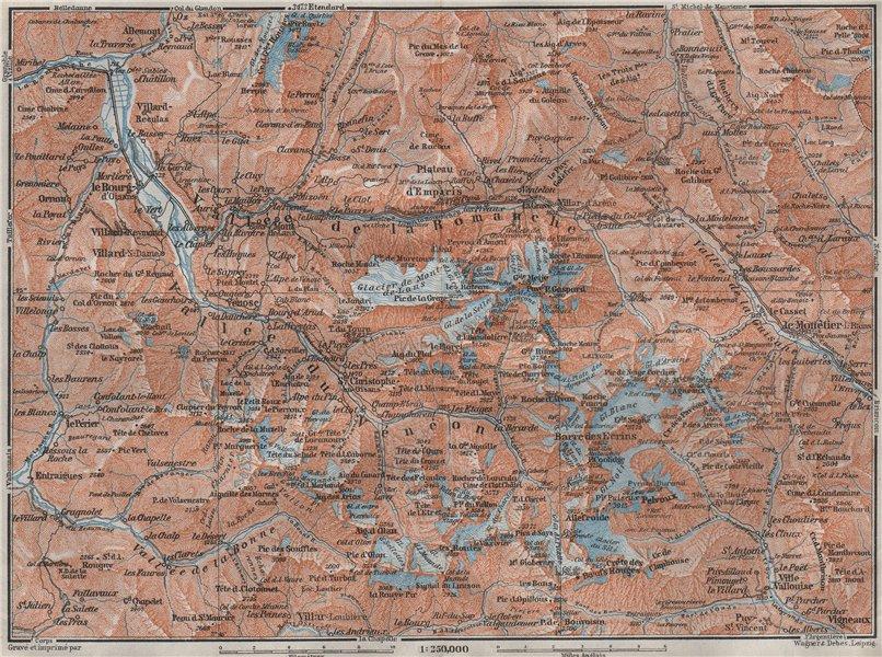 Associate Product MASSIF DES ÉCRINS Alpe d'Huez Les Deux Alpes Hautes-Alpes Isère carte 1907 map