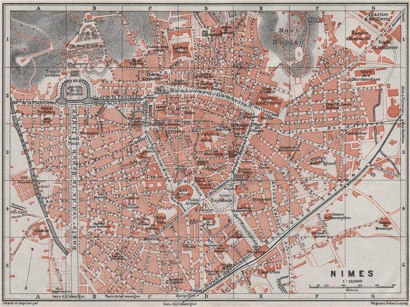 Associate Product NIMES antique town city plan de la ville. Gard. Nîmes carte. BAEDEKER 1907 map