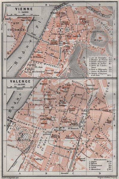 Associate Product VIENNE (Isère) & VALENCE (Drôme) town city plan de la ville. Rhône 1907 map