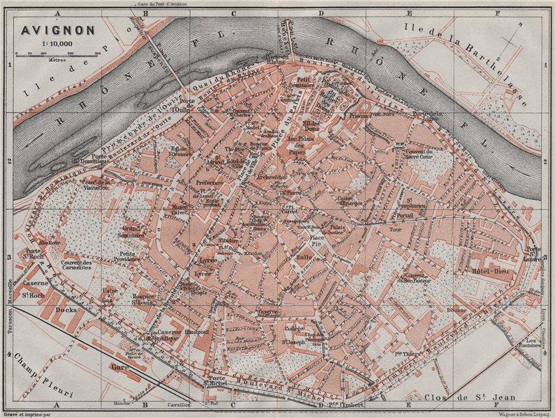 Associate Product AVIGNON antique town city plan de la ville. Vaucluse carte. BAEDEKER 1907 map