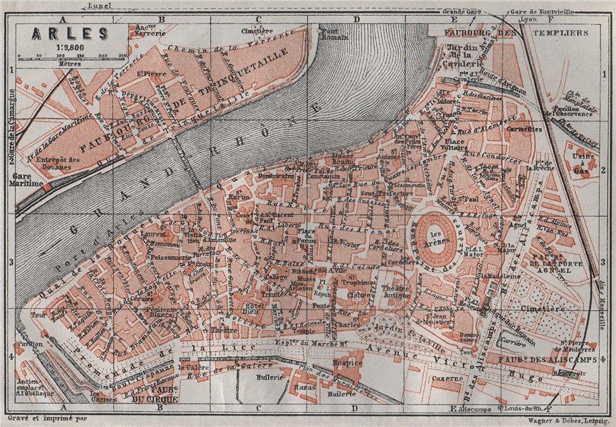Associate Product ARLES antique town city plan de la ville. Bouches-du-Rhône carte 1907 old map