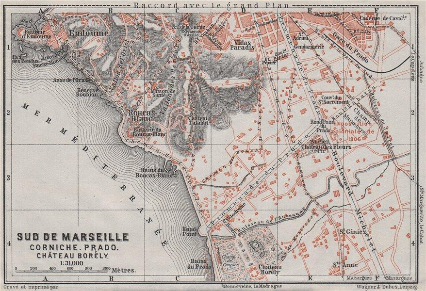 Associate Product SUD DE MARSEILLE. Corniche Prado Château Borély. Bouches-du-Rhône 1907 old map