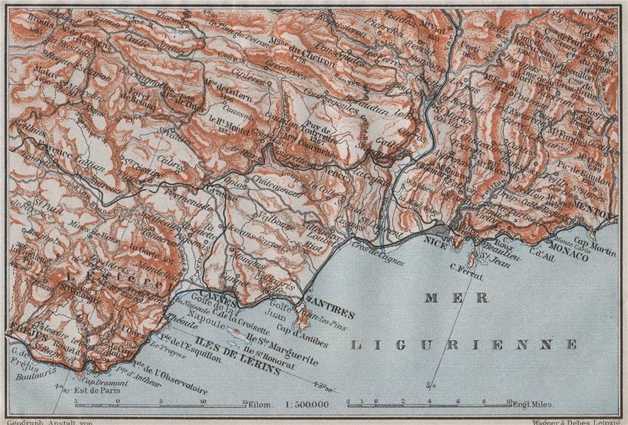 Associate Product COTE D'AZUR/ de L'Esterel. Cannes Antibes Nice Monaco Frejus Lérins 1907 map