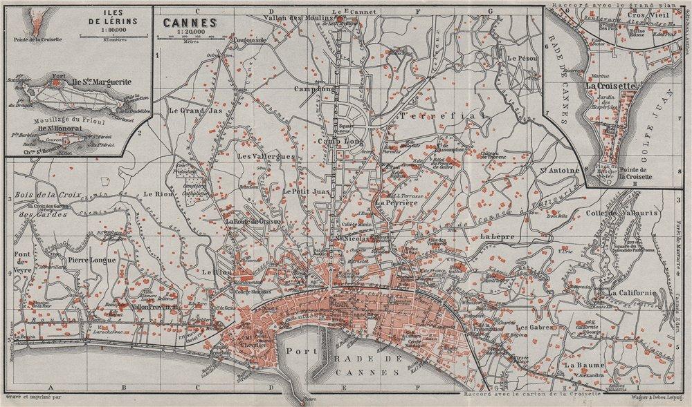 Associate Product CANNES town plan/environs. La Croisette Iles de Lérins Alpes-Maritimes 1907 map