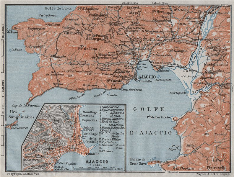 Associate Product GOLFE D'AJACCIO & town city plan. Bastelicaccia. Corse-du-Sud Corsica 1907 map