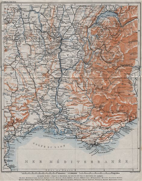 Associate Product SOUTH-EASTERN FRANCE. Dauphine Provence Languedoc Alpes Auvergne Rhone 1907 map
