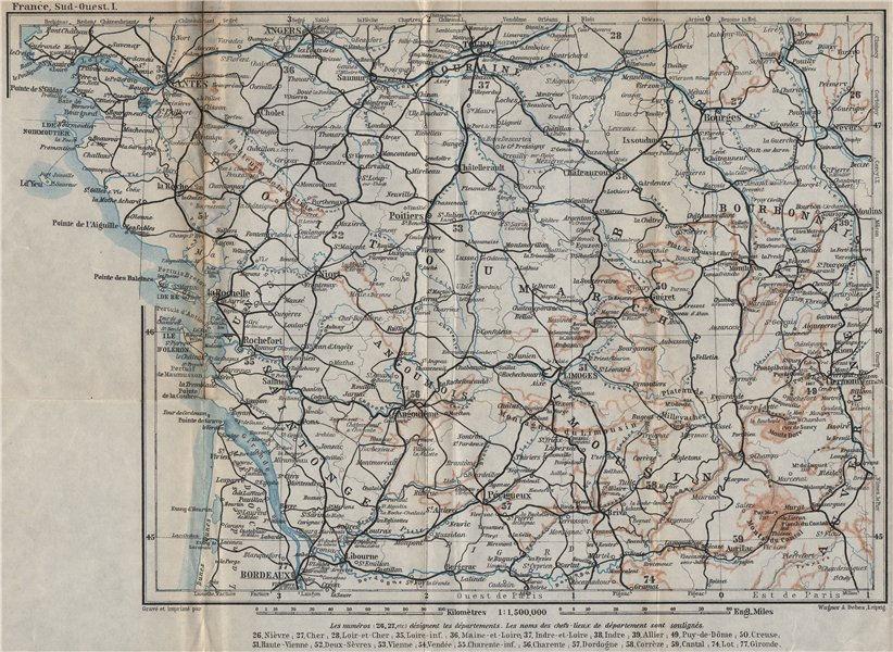 Associate Product SOUTH-WESTERN FRANCE. Poitou Touraine Limousin Berry Aunis Saintonge 1914 map