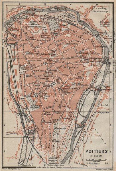 Associate Product POITIERS antique town city plan de la ville. Vienne carte. BAEDEKER 1914 map