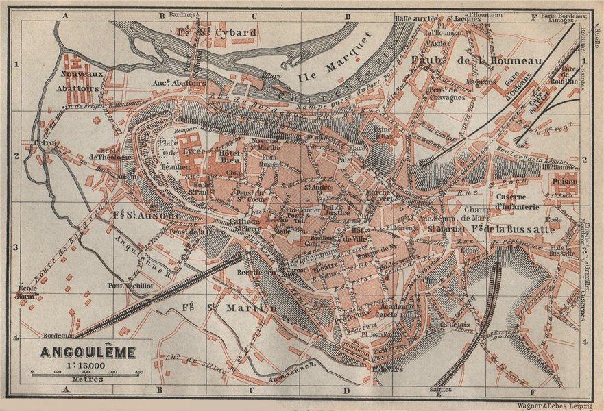 Associate Product ANGOULÊME antique town city plan de la ville. Charente carte. BAEDEKER 1914 map