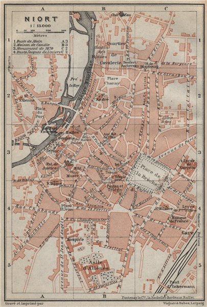 Associate Product NIORT antique town city plan de la ville. Deux-Sèvres carte. BAEDEKER 1914 map
