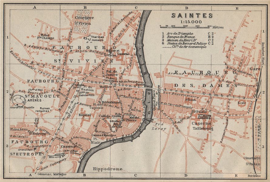 Associate Product SAINTES antique town city plan de la ville. Charente-Maritime carte 1914 map