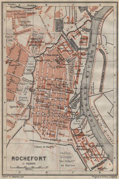 Associate Product ROCHEFORT antique town city plan de la ville. France carte. BAEDEKER 1914 map