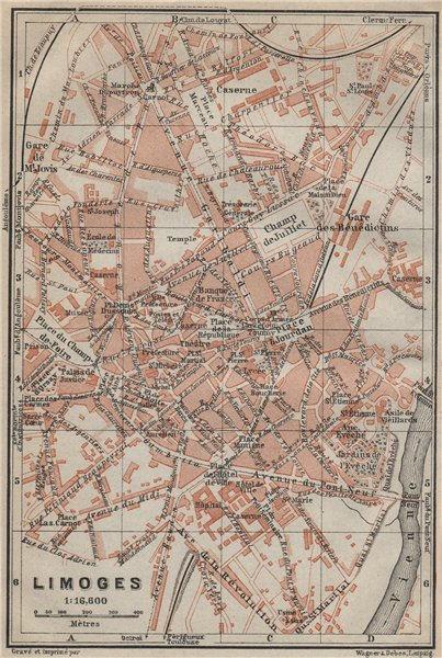 Associate Product LIMOGES antique town city plan de la ville. Haute-Vienne carte 1914 old map