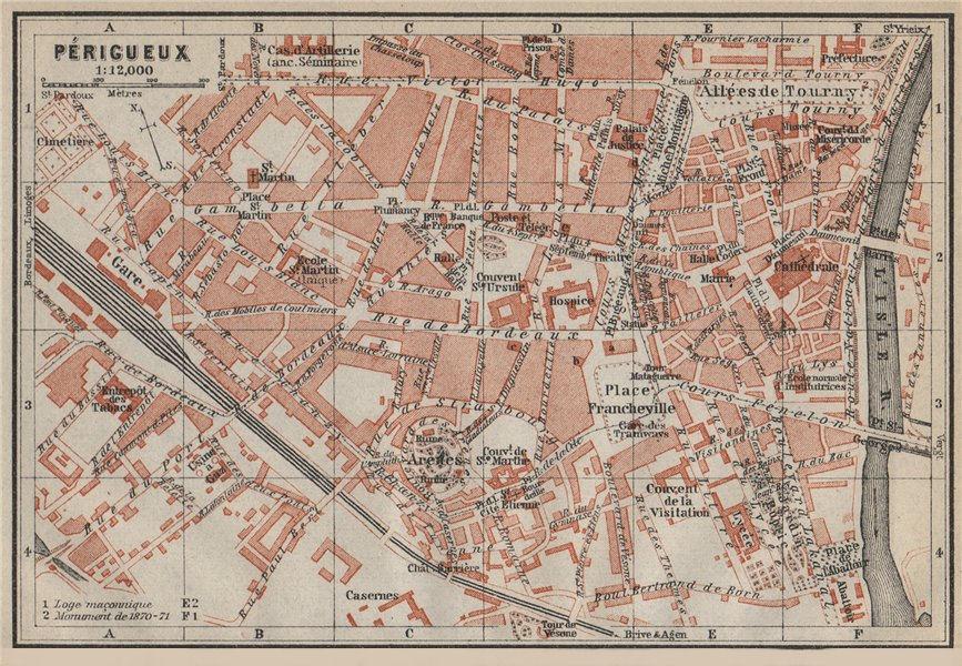 PERIGUEUX PÉRIGUEUX antique town city plan de la ville. Dordogne carte 1914 map
