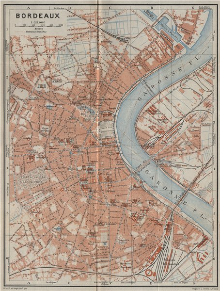 Associate Product BORDEAUX antique town city plan de la ville. Gironde carte. BAEDEKER 1914 map