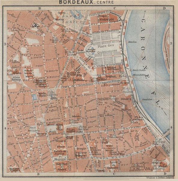 Associate Product BORDEAUX antique town city plan de la ville. Gironde. France carte 1914 map