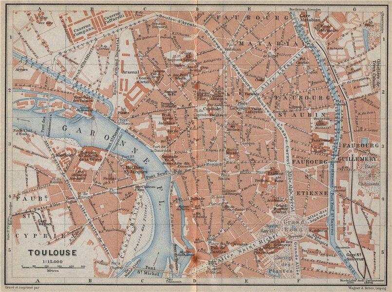 Associate Product TOULOUSE antique town city plan de la ville. Haute-Garonne carte 1914 old map