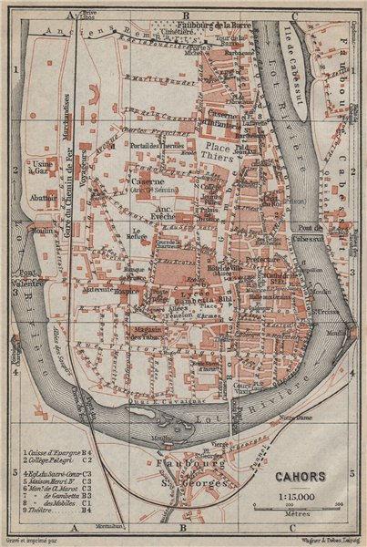 Associate Product CAHORS antique town city plan de la ville. Lot carte. BAEDEKER 1914 old map