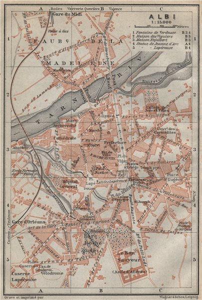 Associate Product ALBI antique town city plan de la ville. Tarn carte. BAEDEKER 1914 old map
