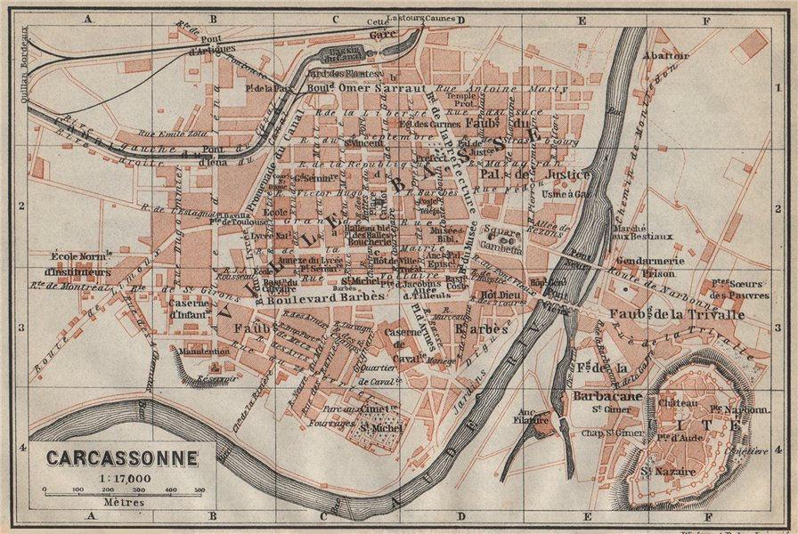 Associate Product CARCASSONNE town city plan de la ville. Aude. Ville Basse & Cité carte 1914 map