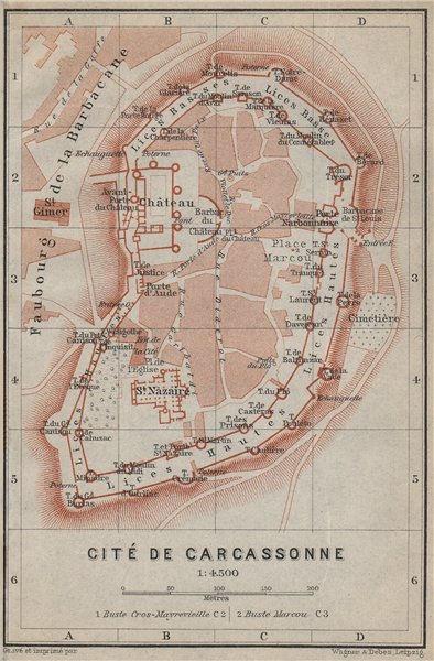 Associate Product CITÉ DE CARCASSONNE antique town city plan de la ville. Aude carte 1914 map