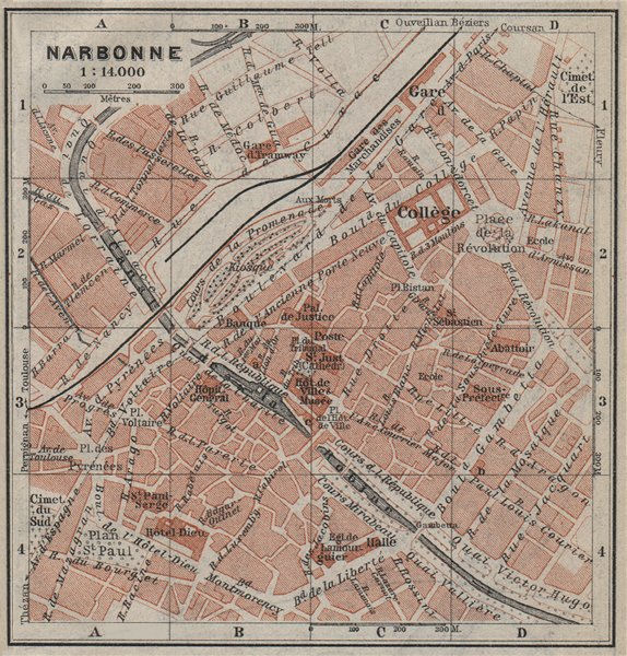 Associate Product NARBONNE antique town city plan de la ville. Aude carte BAEDEKER. SMALL 1914 map