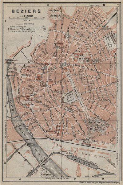 Associate Product BÉZIERS antique town city plan de la ville. Hérault. Beziers carte 1914 map