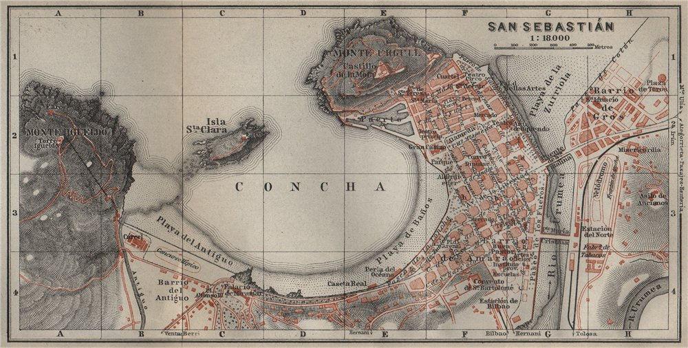 Associate Product SAN SEBASTIAN antique town city ciudad plan. Spain mapa. BAEDEKER 1914 old