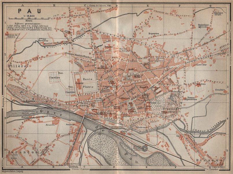 Associate Product PAU antique town city plan de la ville. Pyrénées-Atlantiques carte 1914 map