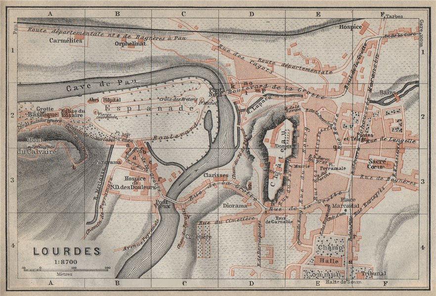 Associate Product LOURDES antique town city plan de la ville. Hautes-Pyrénées carte 1914 old map