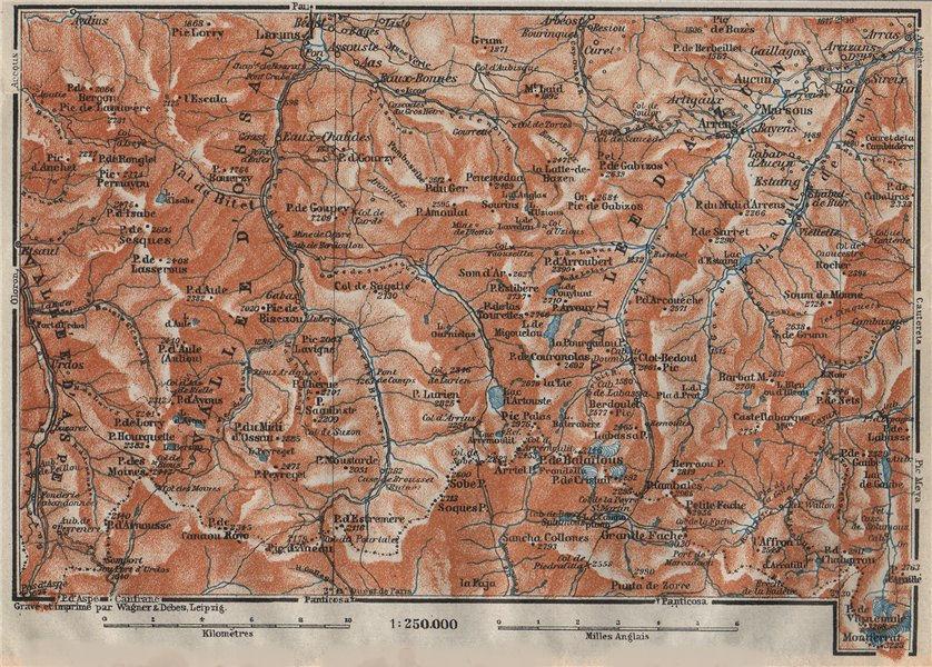 Associate Product Vallées d'OSSAU & d'AZUN topo-map. Laruns. Hautes-Pyrénées-Atlantiques 1914