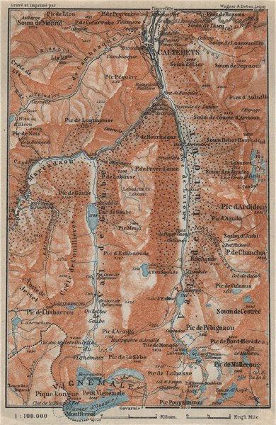 Associate Product CAUTERETS environs. Vals de Lutour & Gaube. Vignemale. Hautes-Pyrénées 1914 map