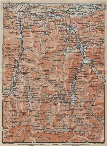 Associate Product VALLEES D'AURE, DE LUCHON & D'ARAN topo-map. Haute-Garonne/Pyrénées 1914