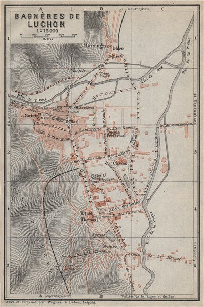 Associate Product BAGNÈRES DE LUCHON town city plan de la ville. Haute-Garonne carte 1914 map