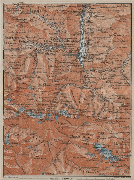 Associate Product VAL DE LUCHON/ MONTS MAUDITS Bagnères de Luchon topo-map Haute-Garonne 1914