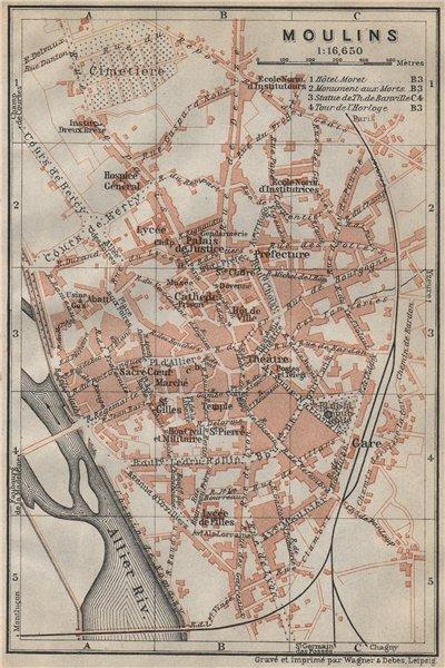 Associate Product MOULINS antique town city plan de la ville. Allier carte. BAEDEKER 1914 map