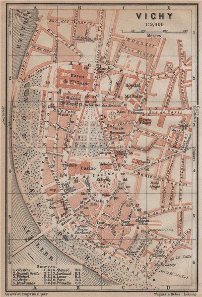 Associate Product VICHY antique town city plan de la ville. Allier carte. BAEDEKER 1914 old map