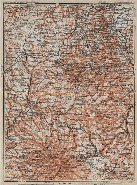 Associate Product Parc natural volcans d'AUVERGNE. Monts du Cantal Dore Dôme. Volcanoes 1914 map