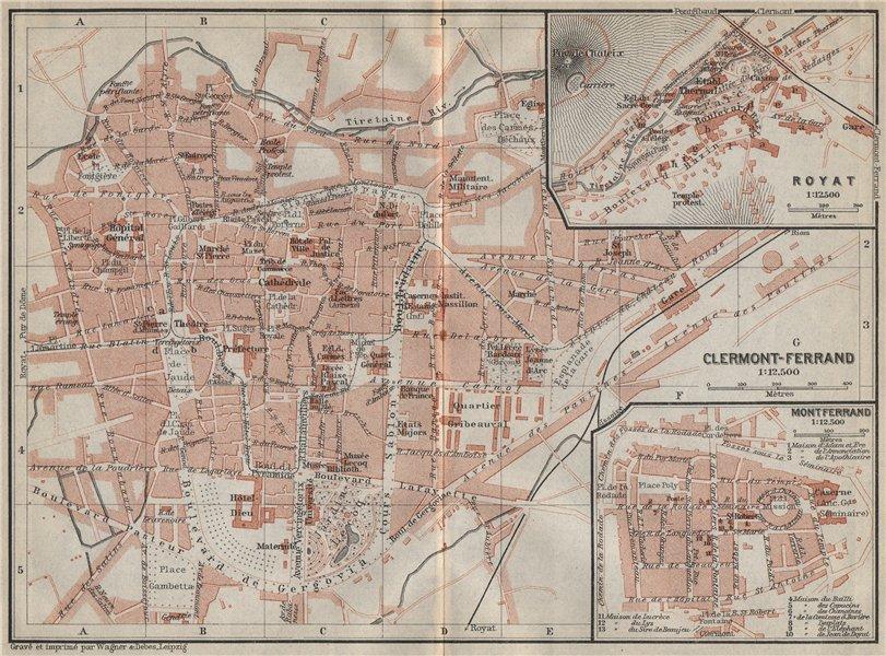 Associate Product CLERMONT-FERRAND antique town city plan de la ville. Puy-de-Dôme carte 1914 map