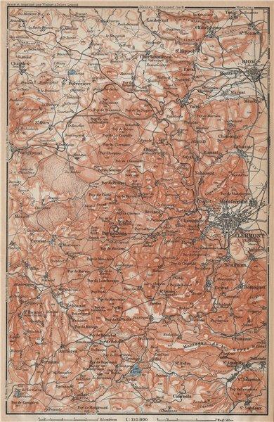 Associate Product LES MONTS DOME topo-map. Auvergne volcans Clermont-Ferrand Puy-de-Dôme 1914