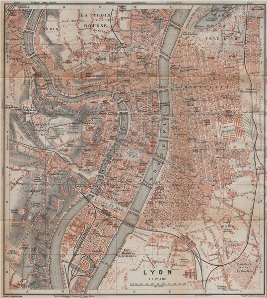 Associate Product LYONS LYON antique town city plan de la ville. Rhône carte. BAEDEKER 1914 map