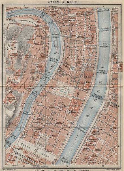 Associate Product LYONS CENTRE 1er 2e 5e 7e town city plan de la ville. Rhône. Lyon 1914 old map