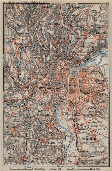 Associate Product LYON environs. Villeurbanne Ste-Foy Rillieux Caluire-et-Cuire. Lyons 1914 map